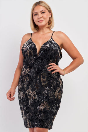 Plus Black Royal Printed Velvet Gradient Halter Tie V-neck Open Back Fitted Mini Dress