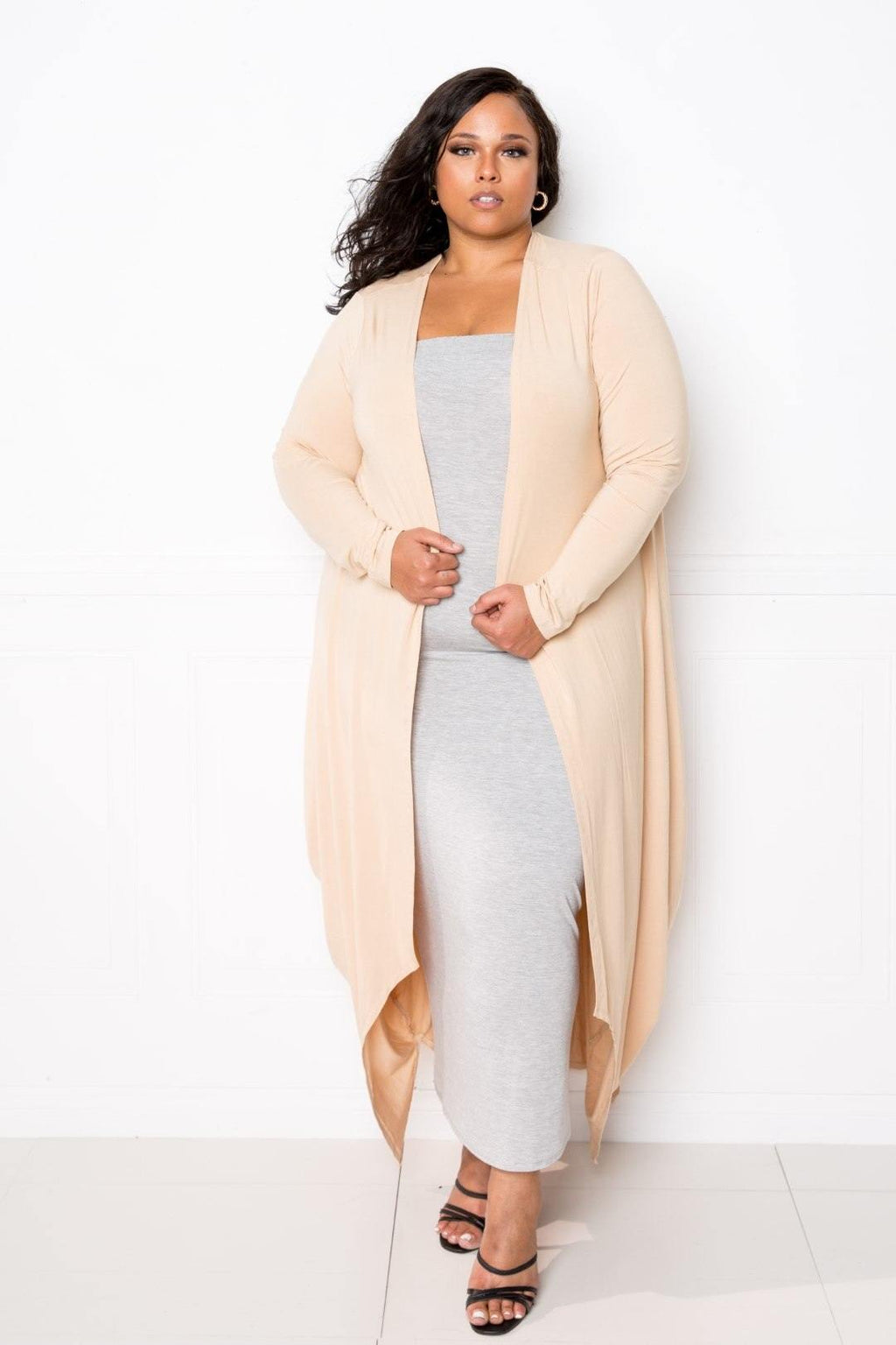 Tan Beige Bubbled Hem Waterfall Cardigan