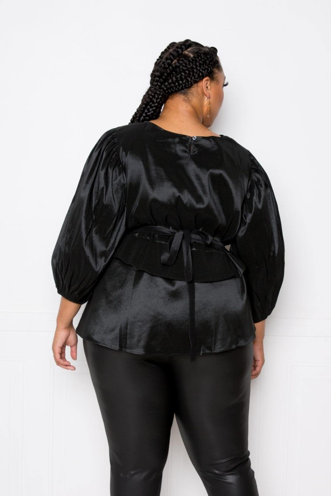 Black Voluminous Top With Waist Tie
