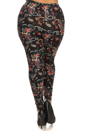 Floral/abstract Print, Full Length Leggings In A Slim Fitting Style
