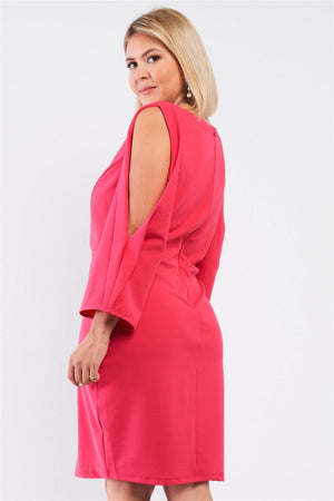 Plus Coral Pink Plunging V-neck Long Slit Sleeve Detail Mini Dress