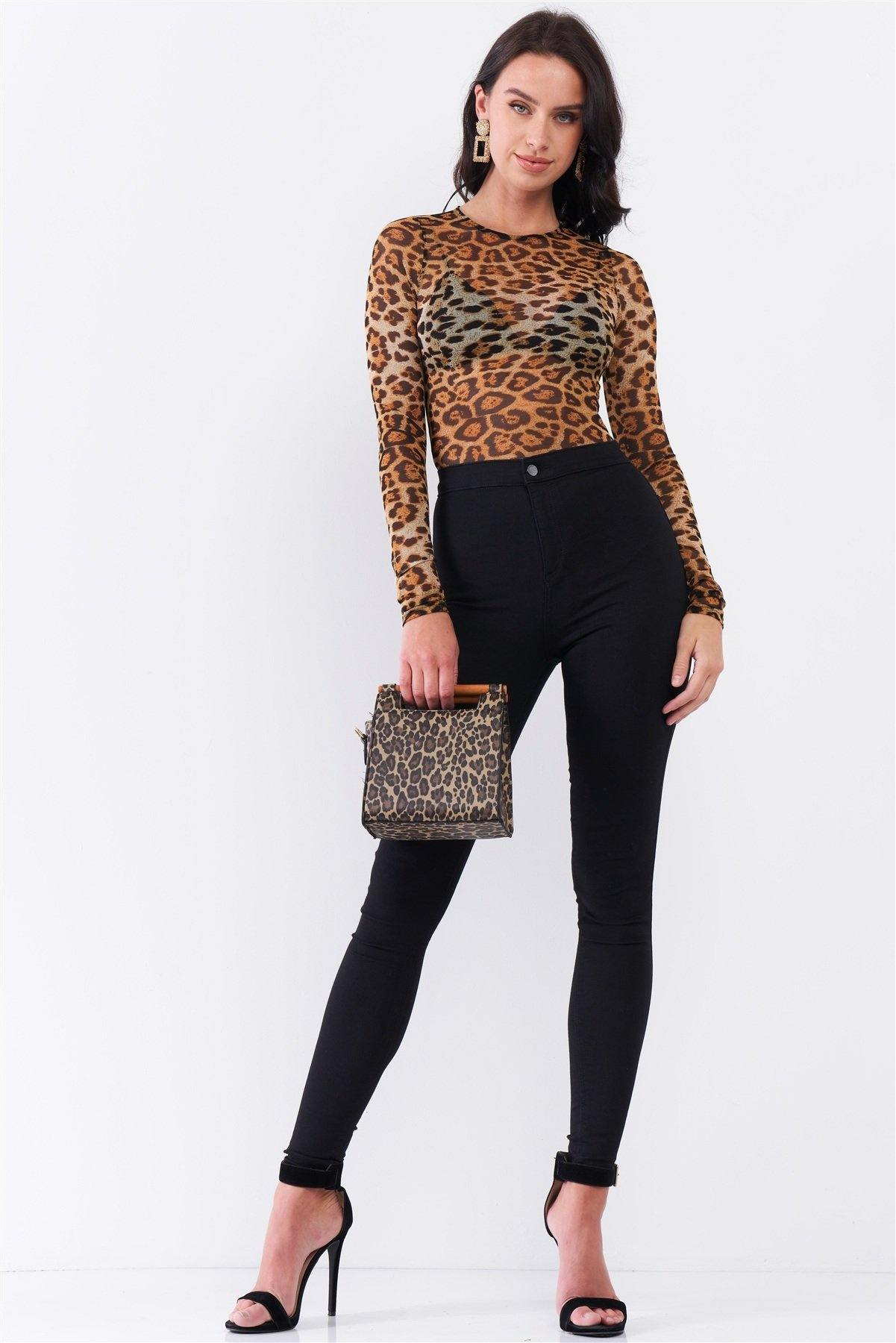 Brown Leopard Print Sheer Mesh Crew Neck Long Sleeve Bodysuit