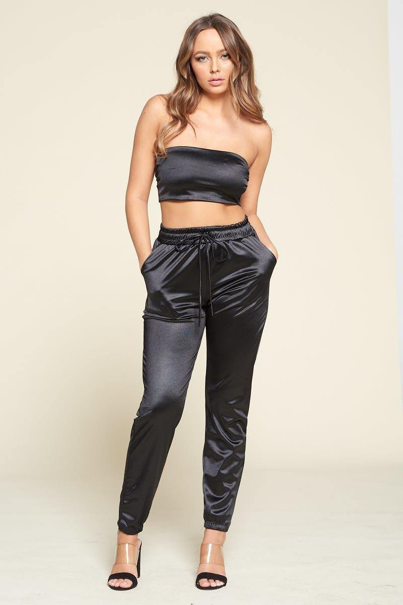 Black Tube Top Pant Set