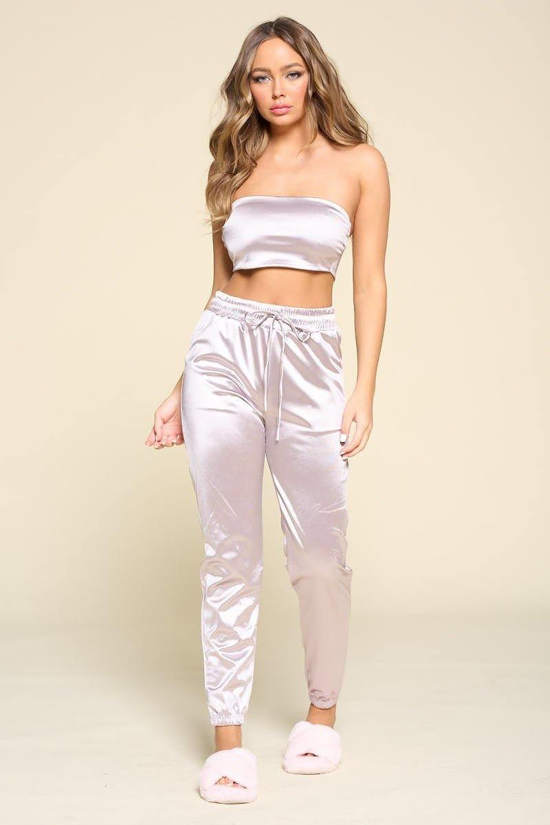 Silver Tube Top Pant Set