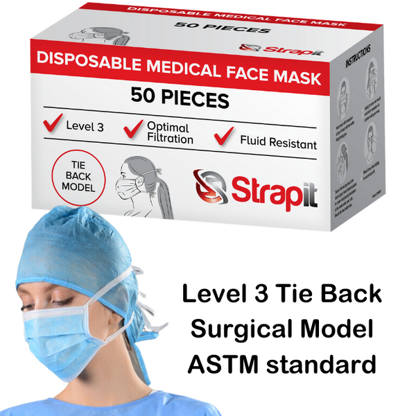 Level 3 Tie Back Surgical Mask - 160mmHg Fluid Resistance and Optimal Submicron Filtration
