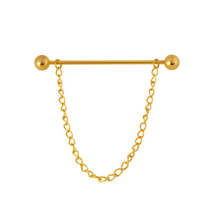 CP102 Collar pin Barbell  6cm Gold