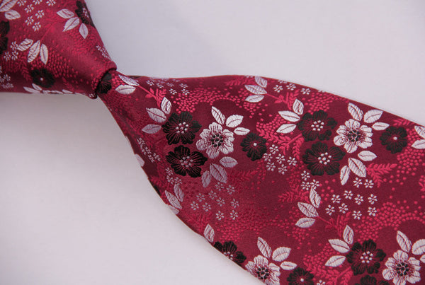 Rose Burgundy Red Black & White Tie Necktie