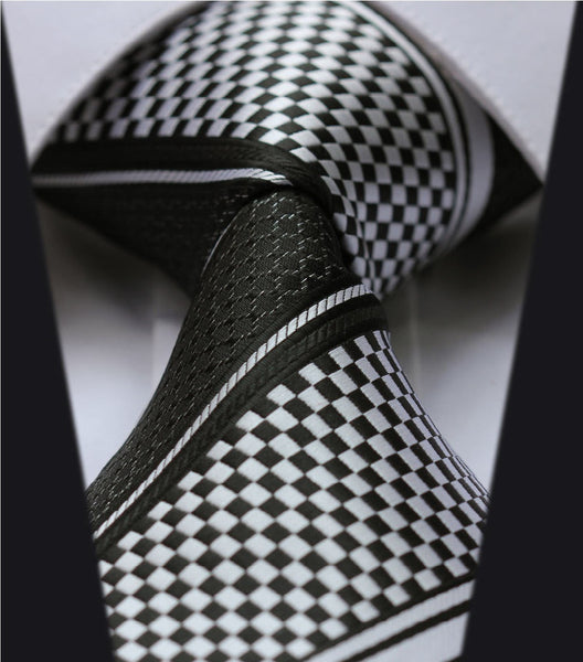 Chequered Black & White Tie Necktie