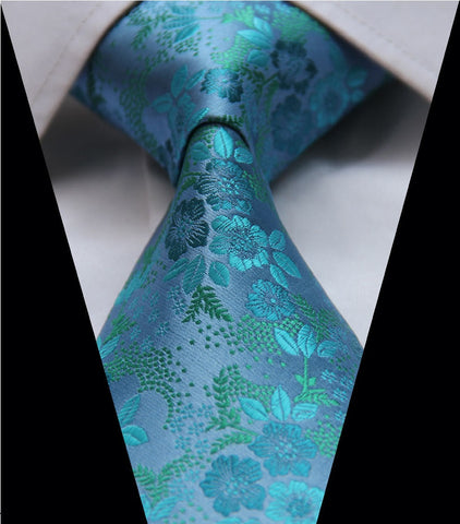 Turquoise Floral Blue to Green Tie Necktie