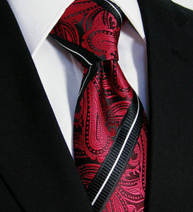 Red & Black Paisley Stripe Tie Necktie