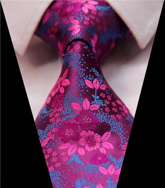 Rose Fuschia Pink Blue Purple Tie Necktie