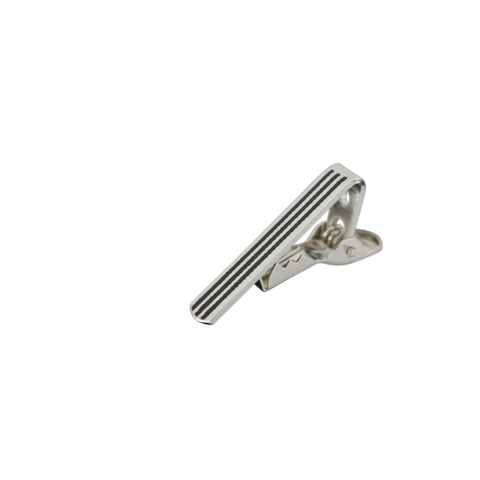 TC301B 3cm Silver Striped Tie Clip