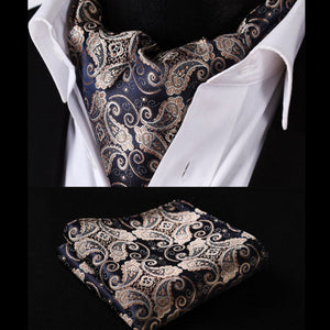 Mens Ascot Handkerchief Set Navy Gold