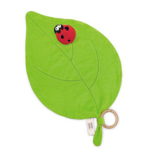 APPLE PARK Organic Pacifier Finger Toy - Ladybug<BR/>有機棉手指玩偶安撫巾 - 綠葉瓢蟲 - Shark Tank Taiwan