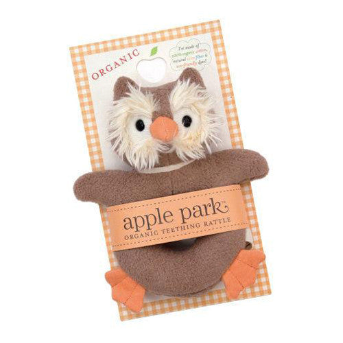 APPLE PARK Picnic Pal Soft Teething Toy - Owl<BR/>手搖鈴啃咬玩具 - 貓頭鷹 - Shark Tank Taiwan