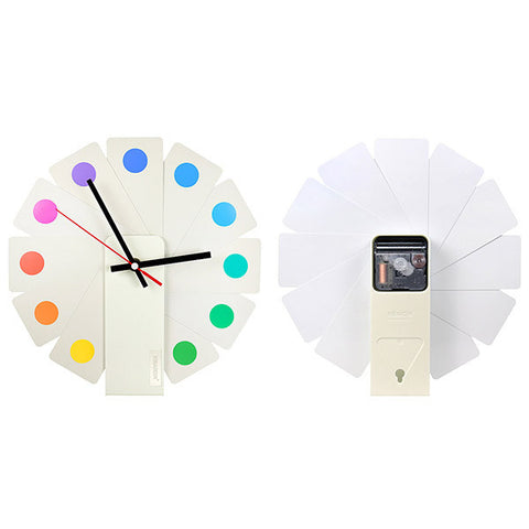 KIBARDIN Transformer Clock / Color Spots<br/>時鐘 - 白色扇葉/彩色斑點