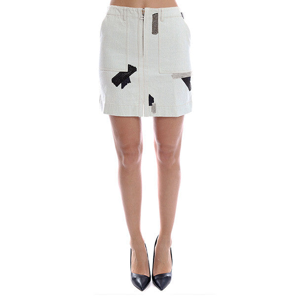 3.1 PHILLIP LIM Skirt With Metal Chain Patchwork Embroidery<br/>印花牛仔裙