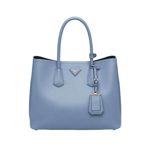 PRADA Saffiano Leather Tote<BR/>水藍防刮牛皮兩用包 L