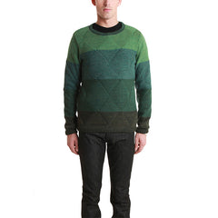 Wool Boarder Layer Crew Green<br/>羊毛菱格紋毛衣 - Shark Tank Taiwan