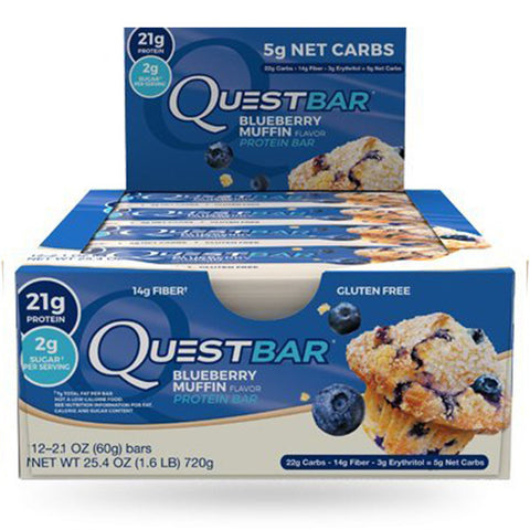 QUEST Protein Bars - Blueberry Muffin<BR/>高蛋白營養棒 - 藍莓馬芬 (12入)