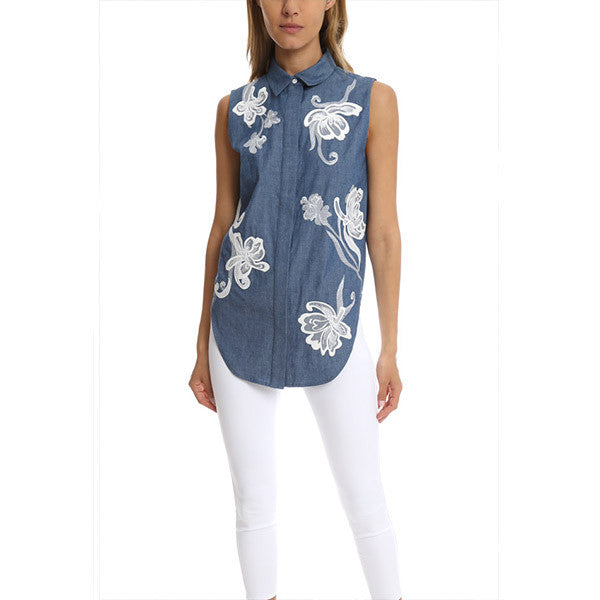 3.1 PHILLIP LIM Floral Chambray Embroidered Top<br/>牛仔繡花背心
