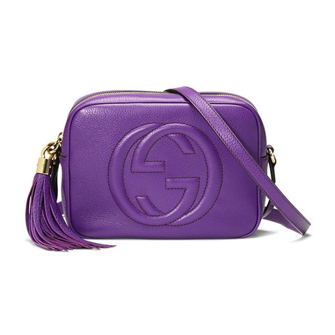 GUCCI Soho Leather Disco Bag - Purple