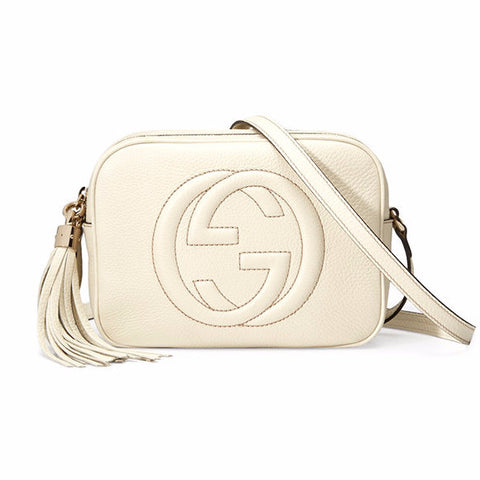GUCCI Soho Leather Disco Bag - White