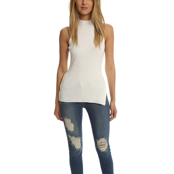 3.1 PHILLIP LIM Ribbed Side-Slit Tank<br/>高領下擺開衩背心
