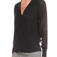3.1 PHILLIP LIM Hidden Placket Cardigan<br/>透膚棒球外套針織衫 (共2色)