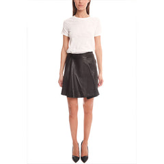 3.1 PHILLIP LIM Rounded Fold Leather Skirt<br/>皮質 A 字短裙