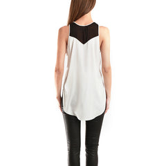 3.1 PHILLIP LIM Tank With Chevron Back Inset<br/>雙色開衩雪紡背心
