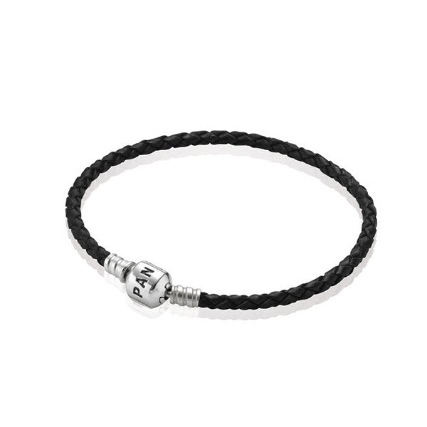 PANDORA Black Single Braided Leather Bracelet - Shark Tank Taiwan