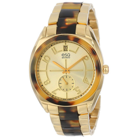 ESQ - Origin Gold-tone Dial Gold-tone Steel Tortoise Acetate Ladies Watch