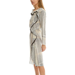3.1 PHILLIP LIM Print Silk Ruffle Dress<br/>透膚噴漆條紋洋裝 (共2色)