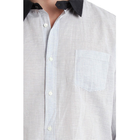 Contrast Collar Dress Shirt<br/>對比細橫紋襯衫 - Shark Tank Taiwan