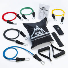 Black Mountain Products Resistance Band Set with Door Anchor, Ankle Strap, Exercise Chart, and Resistance Band Carrying Case - Shark Tank Taiwan