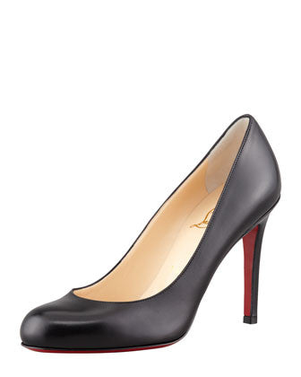 Christian Louboutin - Simple Round-Toe Kidskin Red Sole Pump, Black - Shark Tank Taiwan 歐美時尚生活網