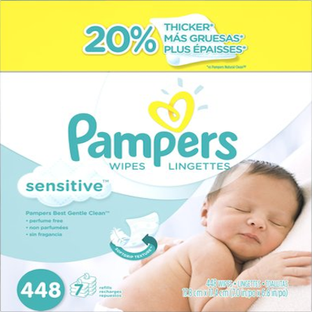 Pampers Sensitive Baby Wipes Refill - 448ct 增厚濕紙巾