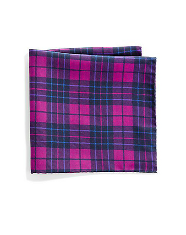Saks Fifth Avenue Collection - Plaid & Polka Dot Silk Pocket Square (共5色)