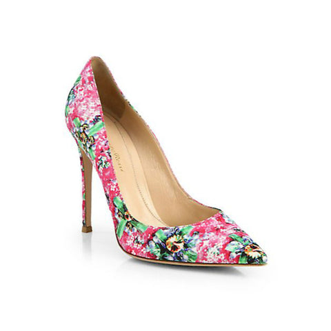 Mary Katrantzou - Satin Floral-Print Pumps