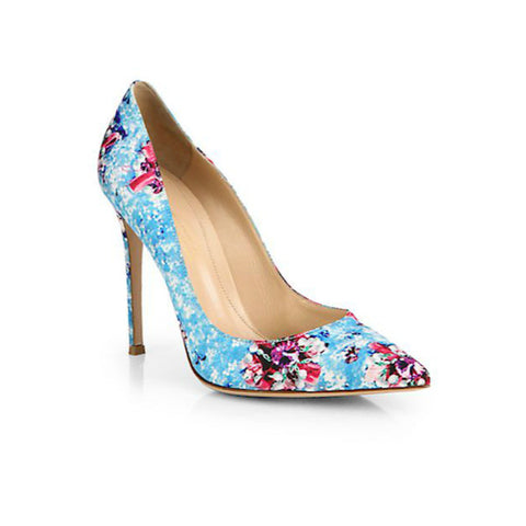 Mary Katrantzou Satin Floral-Print Pumps