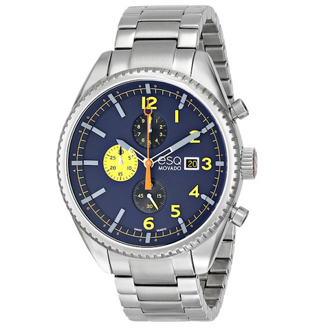 ESQ Movado - Men's 07301446 Catalyst Ionic Black-Plated Steel and Bracelet Blue Chrono Dial Watch
