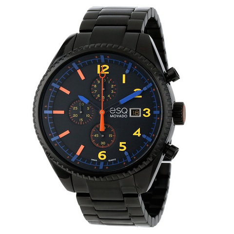 ESQ Movado - Men's Swiss Chronograph Catalyst Black Ion-Plated Stainless Steel Bracelet 44mm 7301452