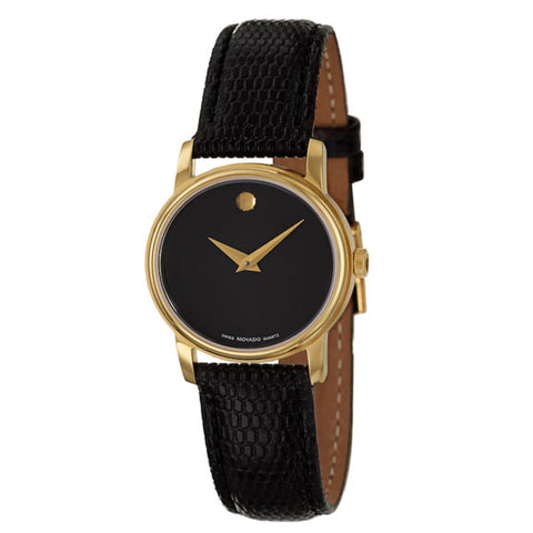 Movado - Museum Black Dial Black Leather Ladies Watch 2100006