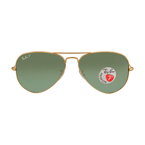 RAY BAN -  Aviator Green Polarized Lens 58mm Men's Sunglasses