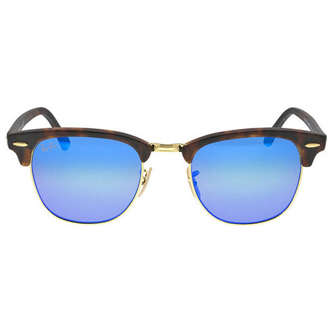 RAY BAN - Classic Clubmaster Blue Flash Lenses Tortoise-shell Frame Men\