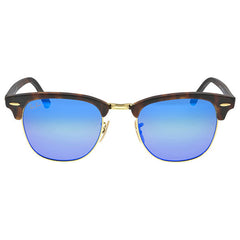 RAY BAN - Classic Clubmaster Blue Flash Lenses Tortoise-shell Frame Men's Sunglasses - Shark Tank Taiwan