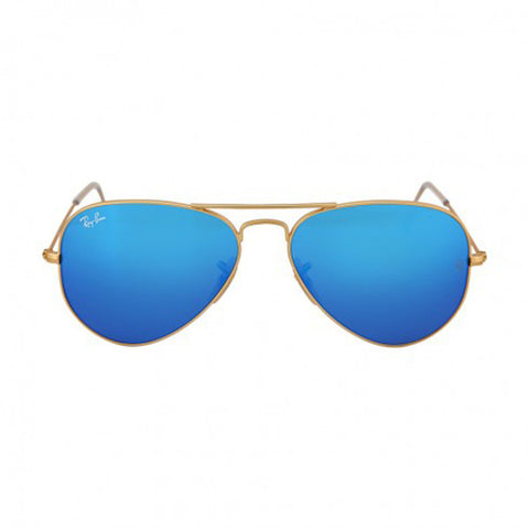 RAY BAN -  Aviator Gold Metal Frame Blue Mirror Polarized Crystal Lens 55mm Men's Sunglasses