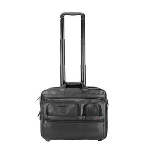 Tumi - Alpha Deluxe Wheeled Leather Brief with Laptop Case