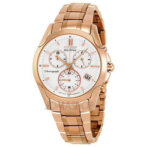 Citizen - Eco-Drive Sport Chronograph White Dial Rose Gold-Tone Ladies Watch FB1153-59A (48% off)